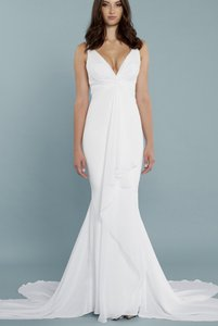 Katie May Ivory Twist Mykonos Front Crepe De Chine Mermaid Gown Modern Wedding Dress Size 8 (M)