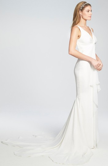 Katie May Ivory Twist Mykonos Front Crepe De Chine Mermaid Gown Modern Wedding Dress Size 8 (M) Image 1