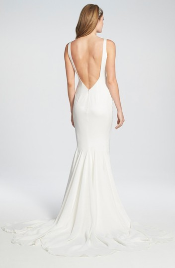 Katie May Ivory Twist Mykonos Front Crepe De Chine Mermaid Gown Modern Wedding Dress Size 8 (M) Image 2