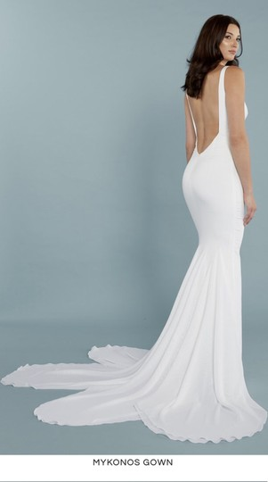Katie May Ivory Twist Mykonos Front Crepe De Chine Mermaid Gown Modern Wedding Dress Size 8 (M) Image 5