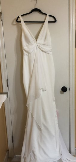 Katie May Ivory Twist Mykonos Front Crepe De Chine Mermaid Gown Modern Wedding Dress Size 8 (M) Image 6