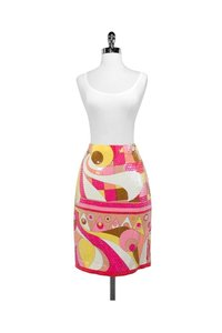 Nipon Boutique Yellow Silk Sequin Skirt pink