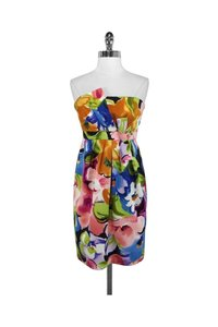 David Meister short dress Floral Silk Strapless on Tradesy