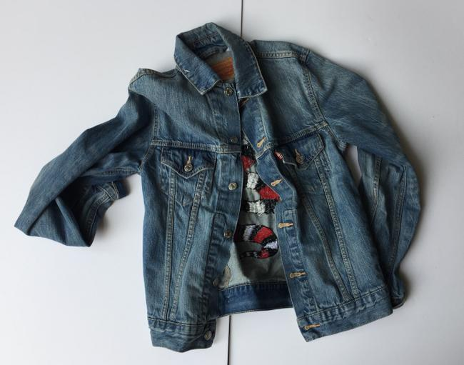 Libby Willingham /Levi One Of A Kind Handmade Embroidered Embroidered Blue denim Womens Jean Jacket Image 1