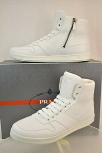 Prada White Men Leather Lace Up Lettering Logo High Top Zip Sneakers 8 Us 9 Shoes
