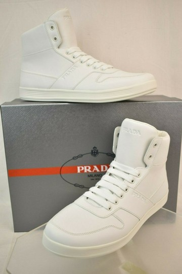 Prada White Men Leather Lace Up Lettering Logo High Top Zip Sneakers 8 Us 9 Shoes Image 1