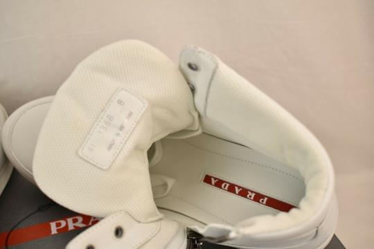 Prada White Men Leather Lace Up Lettering Logo High Top Zip Sneakers 8 Us 9 Shoes Image 10