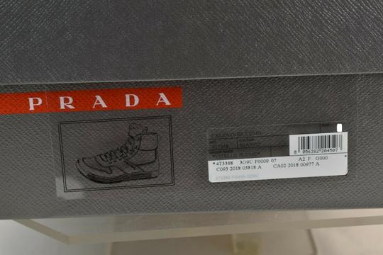 Prada White Men Leather Lace Up Lettering Logo High Top Zip Sneakers 8 Us 9 Shoes Image 11