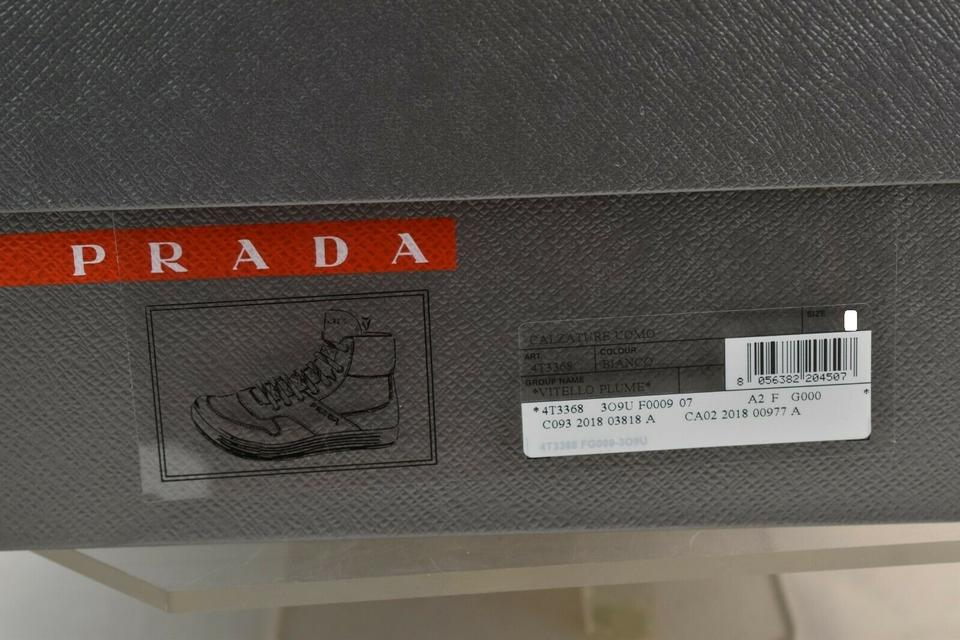 bd8c377259 Prada White Men Leather Lace Up Lettering Logo High Top Zip Sneakers 8 Us 9  Shoes 61% off retail
