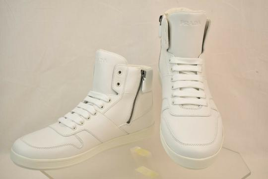 Prada White Men Leather Lace Up Lettering Logo High Top Zip Sneakers 8 Us 9 Shoes Image 2