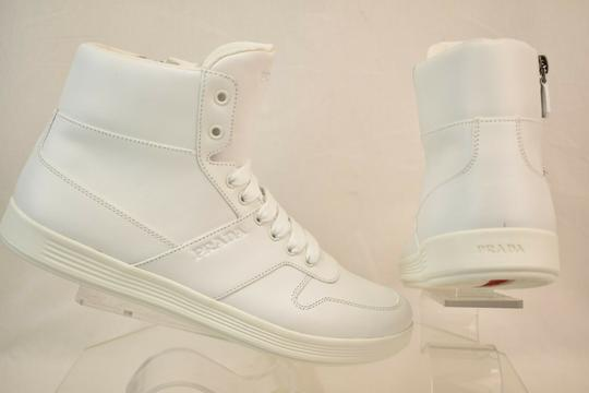 Prada White Men Leather Lace Up Lettering Logo High Top Zip Sneakers 8 Us 9 Shoes Image 3