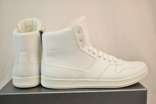Prada White Men Leather Lace Up Lettering Logo High Top Zip Sneakers 8 Us 9 Shoes Image 4