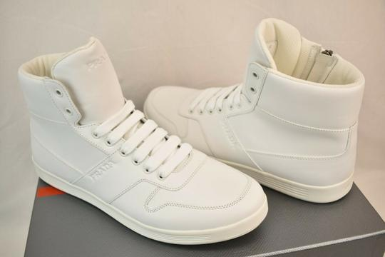 Prada White Men Leather Lace Up Lettering Logo High Top Zip Sneakers 8 Us 9 Shoes Image 5