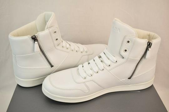Prada White Men Leather Lace Up Lettering Logo High Top Zip Sneakers 8 Us 9 Shoes Image 6