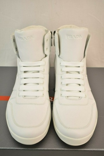 Prada White Men Leather Lace Up Lettering Logo High Top Zip Sneakers 8 Us 9 Shoes Image 7