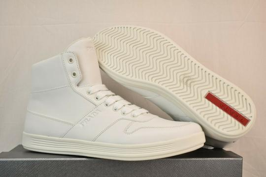 Prada White Men Leather Lace Up Lettering Logo High Top Zip Sneakers 8 Us 9 Shoes Image 8