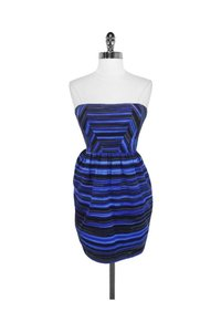 Shoshanna short dress blue Striped Strapless on Tradesy