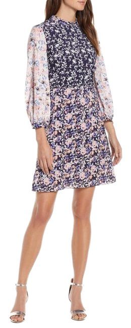 Nordstrom Navy and Pink Colorblock Floral Short Casual Dress Size 4 (S) Nordstrom Navy and Pink Colorblock Floral Short Casual Dress Size 4 (S) Image 1