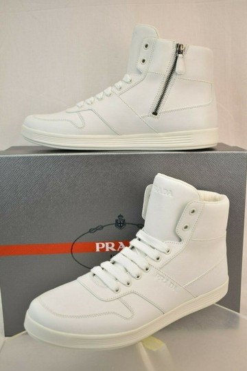 Prada White Men Leather Lace Up Logo High Top Zip Sneakers 10 Us 11 Shoes Image 0