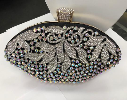 Crystal Collection Evening Rhinestone Black and AB crystal Clutch Image 10