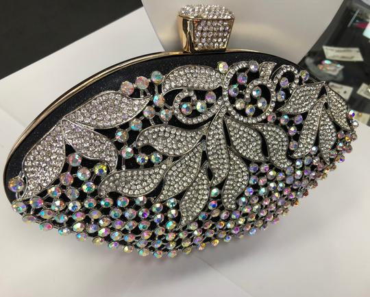 Crystal Collection Evening Rhinestone Black and AB crystal Clutch Image 11