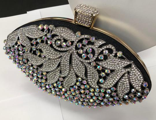 Crystal Collection Evening Rhinestone Black and AB crystal Clutch Image 2