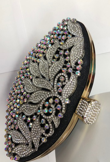 Crystal Collection Evening Rhinestone Black and AB crystal Clutch Image 4