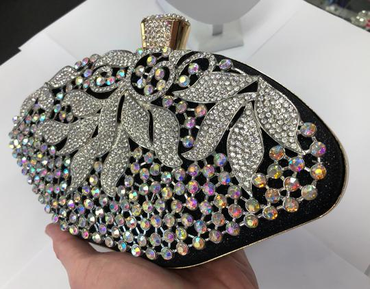 Crystal Collection Evening Rhinestone Black and AB crystal Clutch Image 5