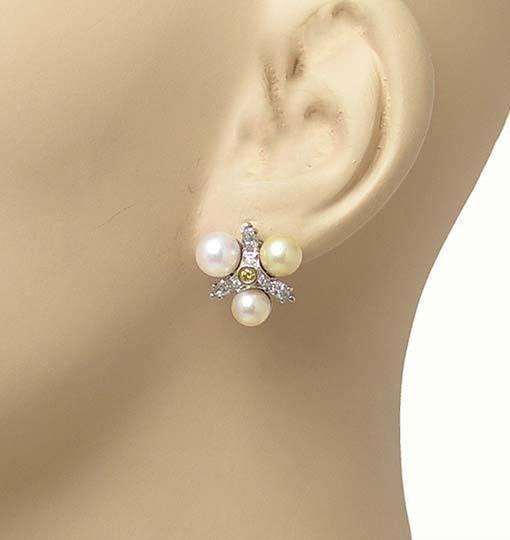 Other Diamond & Pearls 14k White Gold Floral Stud Earrings Image 2