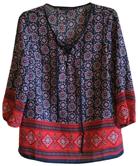 Preload https://img-static.tradesy.com/item/25194780/zac-and-rachel-blue-red-lace-up-floral-paisley-colorblock-pattern-crisscross-tassels-straps-blouse-s-0-1-650-650.jpg