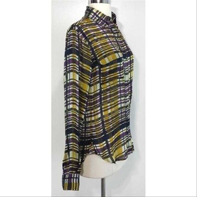 SUNO Plaid Silk Buttonup Top yellow Image 1