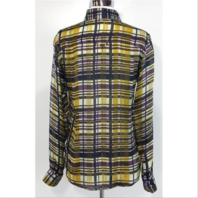 SUNO Plaid Silk Buttonup Top yellow Image 2