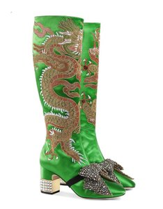 Gucci Candy Dragon Satin Knee Boots