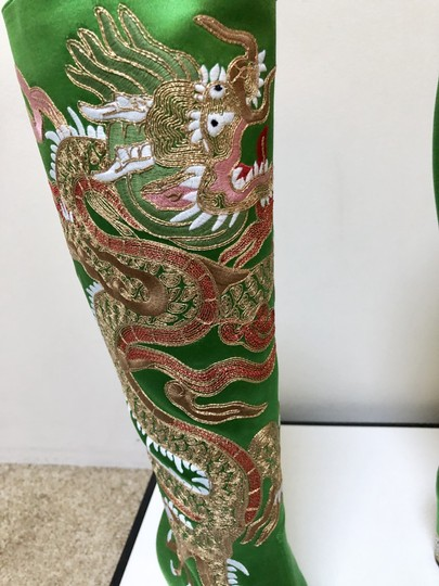 Gucci Candy Dragon Satin Knee Boots Image 5
