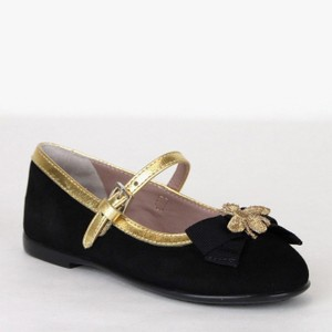 Gucci Black W Toddler Suede Ballet Flats W/Bee and Bow 24/Us 8 455394 1066 Shoes