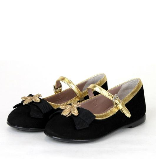Gucci Black W Toddler Suede Ballet Flats W/Bee and Bow 24/Us 8 455394 1066 Shoes Image 1