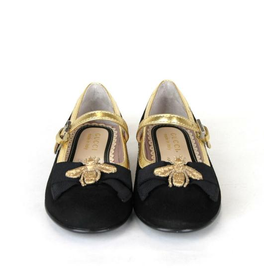 Gucci Black W Toddler Suede Ballet Flats W/Bee and Bow 24/Us 8 455394 1066 Shoes Image 2
