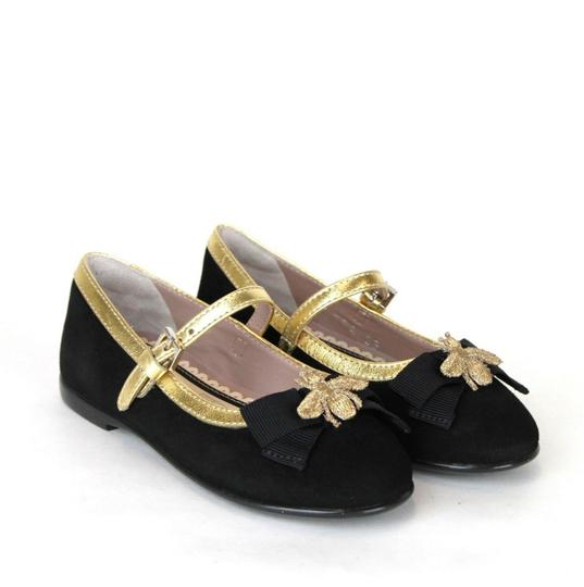 Gucci Black W Toddler Suede Ballet Flats W/Bee and Bow 24/Us 8 455394 1066 Shoes Image 3