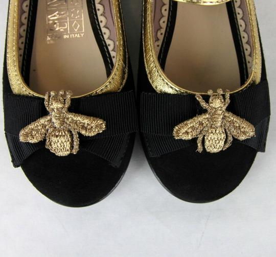 Gucci Black W Toddler Suede Ballet Flats W/Bee and Bow 24/Us 8 455394 1066 Shoes Image 8