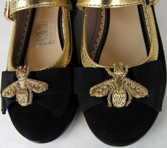Gucci Black W Toddler Suede Ballet Flats W/Bee and Bow 24/Us 8 455394 1066 Shoes Image 9