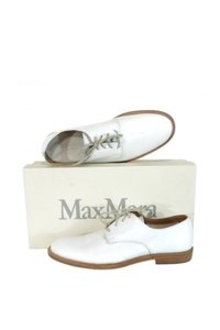 Max Mara Leather Lace Up white Flats
