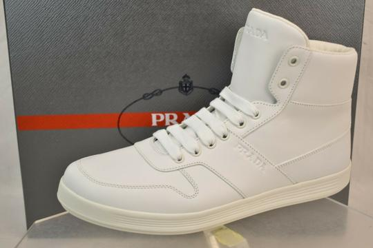 Prada White Men Leather Lace Up Logo High Top Zip Sneakers 8.5 Us 9.5 Shoes Image 3
