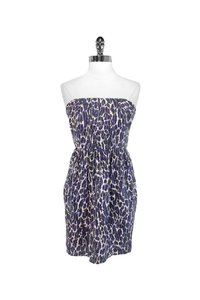 Shoshanna short dress purple Animal Print Strapless on Tradesy
