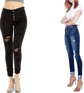Kancan Cuffed High Rise Button Fly Skinny Jeans