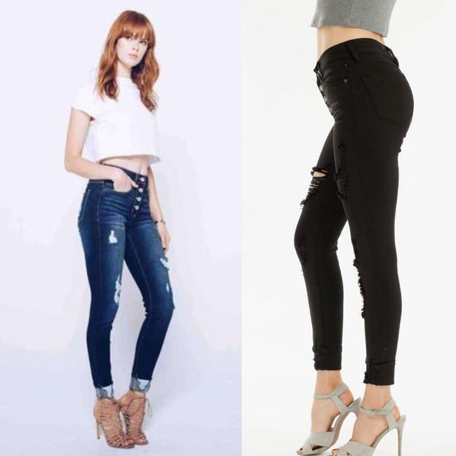 Kancan Cuffed High Rise Button Fly Skinny Jeans Image 5
