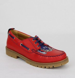 Gucci Red W Leather Loafer W/Blue Animal Print 32/Us .5 455436 6573 Shoes