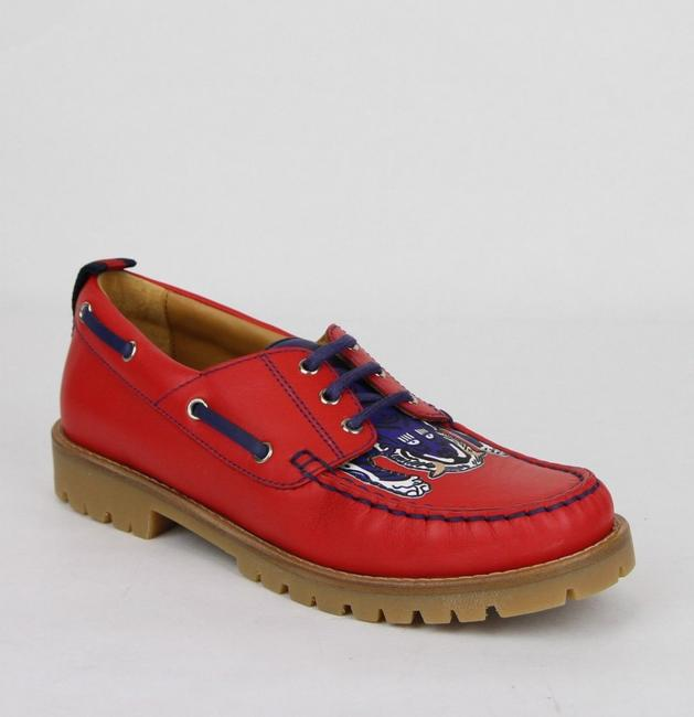 Item - Red W Leather Loafer W/Blue Animal Print 32/Us .5 455436 6573 Shoes