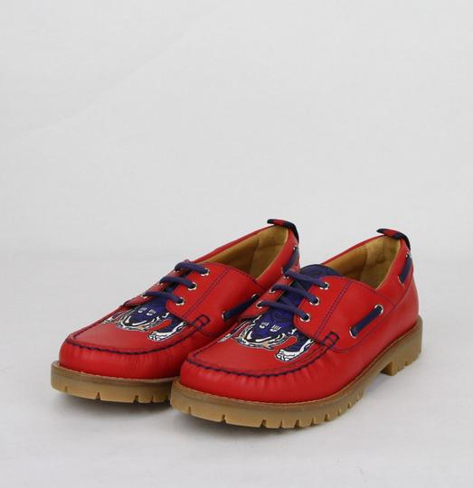 Gucci Red W Leather Loafer W/Blue Animal Print 32/Us .5 455436 6573 Shoes Image 1
