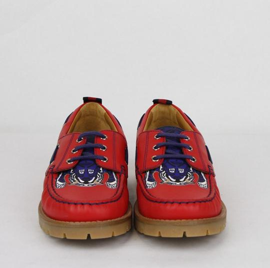 Gucci Red W Leather Loafer W/Blue Animal Print 32/Us .5 455436 6573 Shoes Image 2