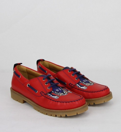 Gucci Red W Leather Loafer W/Blue Animal Print 32/Us .5 455436 6573 Shoes Image 3